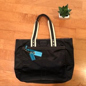 Coach Black Tote w. Turquoise Keychains
